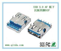 USB 3.0 AF 板下 沉板 四脚DIP QTD-USB-AF-J3124