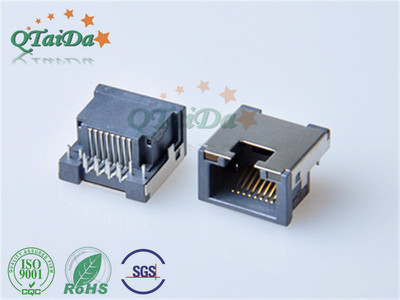 RJ45 沉板式H9.9 90度DIP有翻边(脚长2.0)