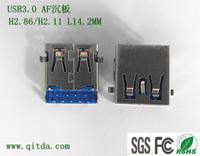 QTDU3F157D USB3.0 AF沉板CL-0.75mm H2.11 L14.2mm DIP_
