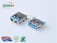 USB 3.0 A 母沉板H3.50 SMT 有卷边方脚 鱼叉脚