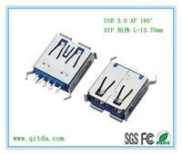 USB 3.0 AF 180° DIP 短体 L=14.00mm _QTD-USB-AF-JW3111