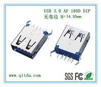 USB 3.0 AF 180D DIP 无卷边 H=15.00mm _QTD-USB-AF-ZW3113