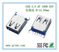 USB 3.0 AF 180D DIP 无卷边 H=13.7mm _QTD-USB-AF-ZW3111