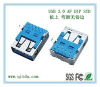 USB 3.0 AF DIP STD 板上 弯脚无卷边_QTD-USB-AF-ZW3118